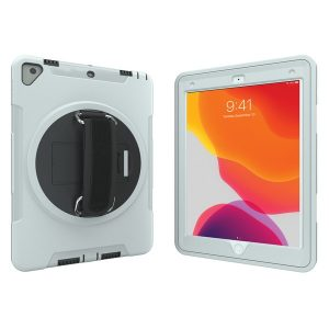 CTA Digital PAD-PCGK10W Protective Case with Built-in 360? Rotatable Grip Kickstand for iPad (White)