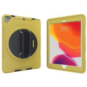 CTA Digital PAD-PCGK10Y Protective Case with Built-in 360? Rotatable Grip Kickstand for iPad (Yellow)