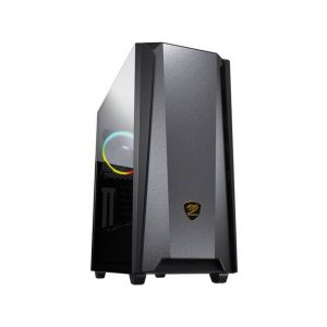 Cougar MX660 Iron RGB-Dark Black Mid-Tower Case with Iron Front Panel and Clear Tempered Glass Left Panel