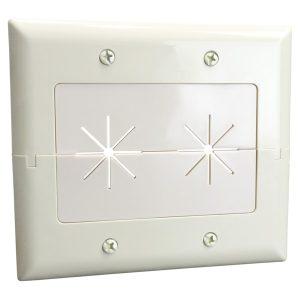 DataComm Electronics 45-0027-LA 2-Gang Split Plate with Flexible Opening (Light Almond)
