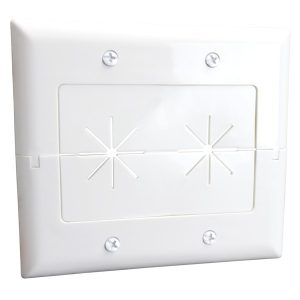 DataComm Electronics 45-0027-WH 2-Gang Split Plate with Flexible Opening ((White)