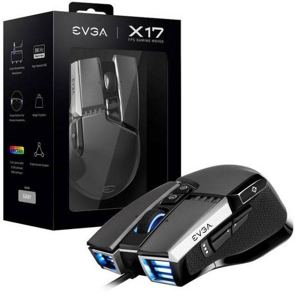 EVGA X17 903-W1-17GR-KR Gaming Mouse w/ 16000 DPI (Grey)