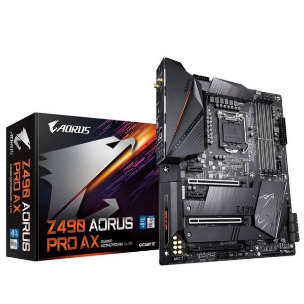 GIGABYTE Z490 AORUS PRO AX LGA1200/ Intel Z490/ DDR4/ 2-Way SLI & 2-Way CrossFire/ SATA3&USB3.2/ M.2/ WiFi/ ATX Motherboard