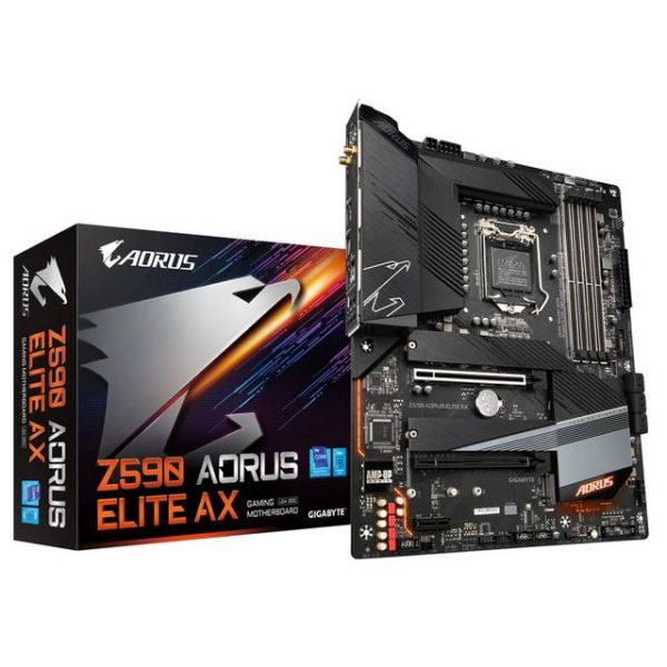 GIGABYTE Z590 AORUS ELITE AX LGA1200/ Intel Z590/ DDR4/ Quad-GPU & 2-Way CrossFire/ WiFi&Bluetooth/ SATA3&USB3.2/ M.2/ ATX Motherboard