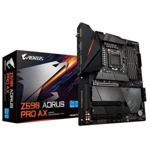 GIGABYTE Z590 AORUS PRO AX Socket LGA1200/ Intel Z590/ DDR4/ Quad-GPU & 2-Way CrossFire/ SATA3&USB3.2/ M.2/ WiFi&Bluetooth/ ATX Motherboard