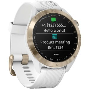 Garmin 010-02140-02 Approach S40 GPS Golf Smartwatch (Light Gold with White Band)