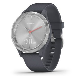 Garmin 010-02238-00 vivomove 3S Hybrid Smartwatch (Silver Stainless Steel Bezel with Granite Blue Case and Silicone Band)