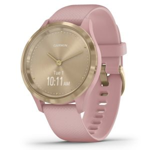 Garmin 010-02238-01 vivomove 3S Hybrid Smartwatch (Light Gold Stainless Steel Bezel with Dust Rose Case and Silicone Band)