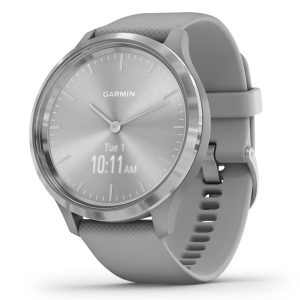 Garmin 010-02239-00 vivomove 3 Hybrid Smartwatch (Silver Stainless Steel Bezel with Powder Gray Case and Silicone Band)
