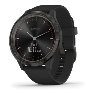 Garmin 010-02239-01 vivomove 3 Hybrid Smartwatch (Slate Stainless Steel Bezel with Black Case and Silicone Band)