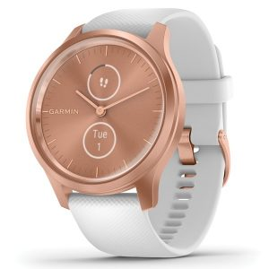 Garmin 010-02240-00 vivomove Style Hybrid Smartwatch (Rose Gold Aluminum Case with White Silicone Band)