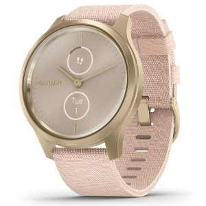 Garmin 010-02240-02 vivomove Style Hybrid Smartwatch (Light Gold Aluminum Case with Blush Pink Woven Nylon Band)