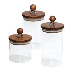 Honey-Can-Do KCH-08571 3-Piece Acacia-Top Glass Kitchen Canister Set