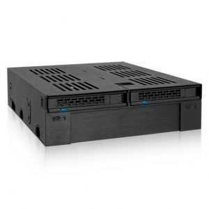 ICY DOCK ExpressCage MB322SP-B 2x 2.5 inch SATA/SAS HDD/SSD to External 5.25 inch Mobile Rack w/ 3.5 inch HDD/Device Slot