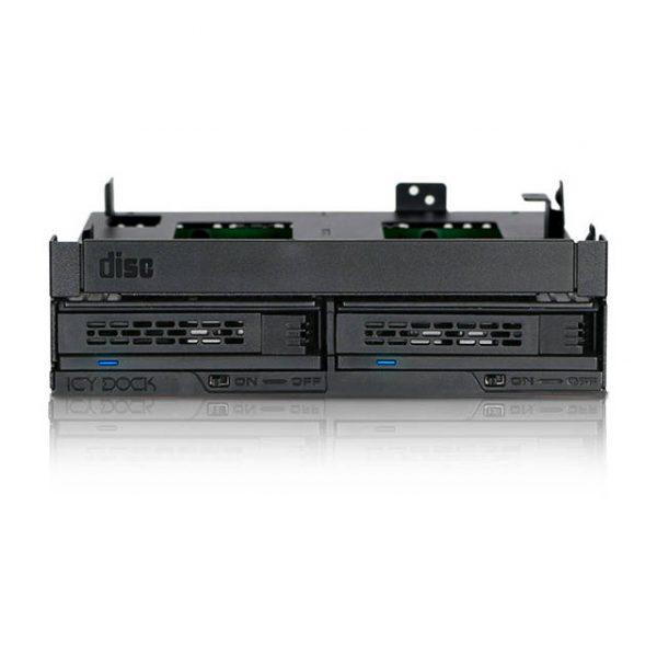 ICY DOCK ExpressCage MB732SPO-B Ultra Slim/Slim ODD Bracket & Dual 2.5 inch SAS/SATA HDD/SSD Hot Swap Cage for External 5.25 inch ODD Bay (Black)