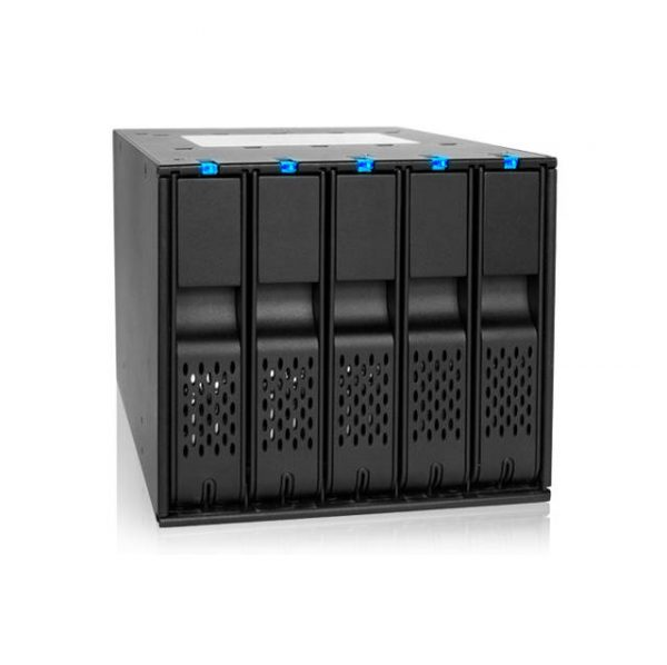 ICY DOCK FlexCage MB975SP-B R1 Tray-less 5 Bay 3.5 inch SATA Hard Drive Hot Swap Backplane Cage in 3x External 5.25 inch Bay (Black)