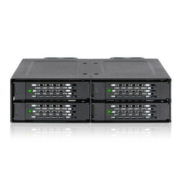 ICY DOCK ToughArmor MB699VP-B Rugged Full Metal 4 Bay 2.5 inch NVMe U.2 SSD Mobile Rack For External 5.25 inch Bay (Black)