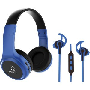 IQ Sound IQ-260BT- BLU 2-in-1 Bluetooth Headphones/Earbuds with Microphone Combo (Blue)