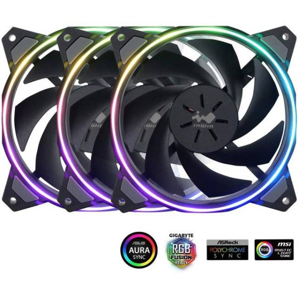 InWin SIRIUS LOOP TRIPLE PACK Sirius Loop Addressable RGB Triple Fan Kit 120mm High Performance Cooling Computer Case Fan Cooling