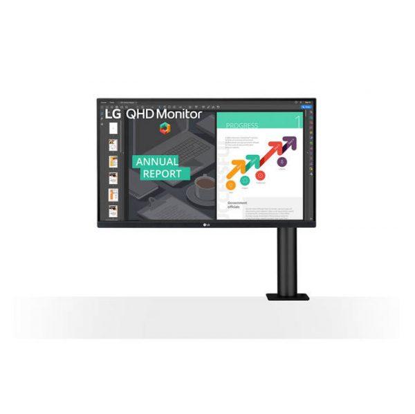 LG Electronics 27BN88Q-B 27 inch 1000:1 5ms Ergo IPS HDMI/Displayport/USB3.0 Monitor w/ Speakers (Black)
