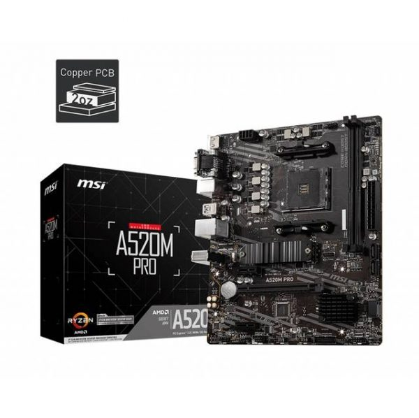 MSI A520M PRO Socket AM4/ AMD A520/ DDR4/ SATA3&USB3.2/ M.2/ M-ATX Motherboard