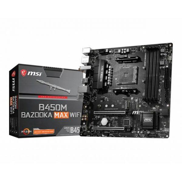 MSI B450M BAZOOKA MAX WIFI Socket AM4/ AMD B450/ DDR4/ SATA3&USB3.2/ M.2/ WiFi&Bluetooth/ Micro-ATX Motherboard