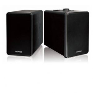 Microlab H21 Wireless Bluetooth Bookshelf Speaker System w/ Versatile Connectivity & Real Wooden & Leather Finishing Cabinets (Black)