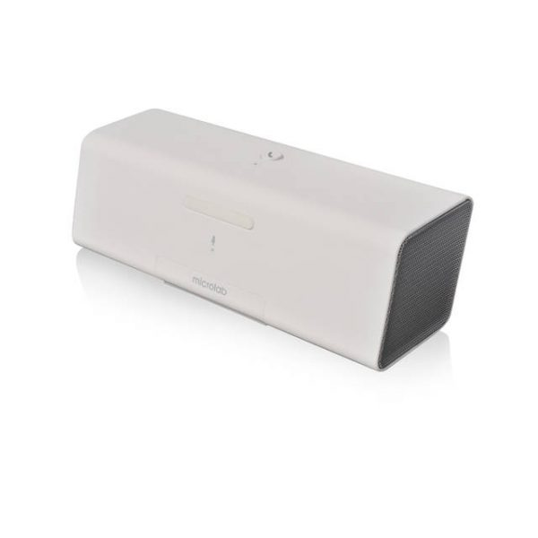 Microlab MD212 Wireless Bluetooth Portable Stereo Speaker w/ Microphone & Rechargeable Battery & Retractable Tray (White)