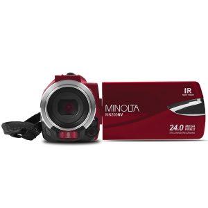 Minolta MN200NV-R MN200NV 1080p Full HD IR Night Vision Wi-Fi Camcorder (Red)