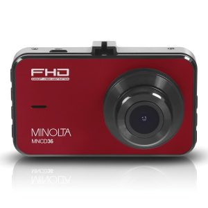 Minolta MNCD36-R MNCD36 1080p Full HD Dash Camera with 3-Inch LCD Screen (Red)