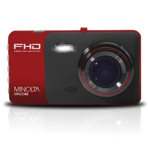 Minolta MNCD42-R MNCD42 1080p Full HD Dash Camera with 4-Inch LCD Screen (Red)