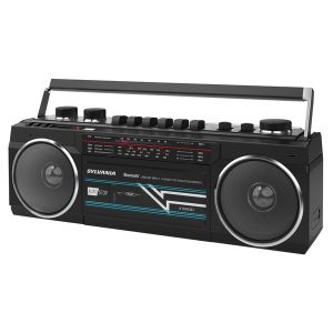SYLVANIA SRC232BT-BLACK Bluetooth Retro Cassette Boombox with FM Radio (Black)