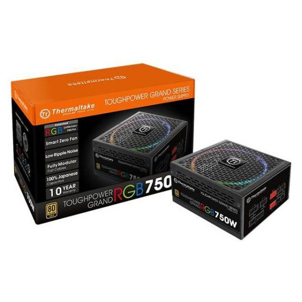 Thermaltake Toughpower Grand RGB PS-TPG-0750FPCGUS-R 750W 80 PLUS Gold ATX12V 2.4 & EPS12V 2.92 Power Supply w/ Active PFC & Full Modular (Black)