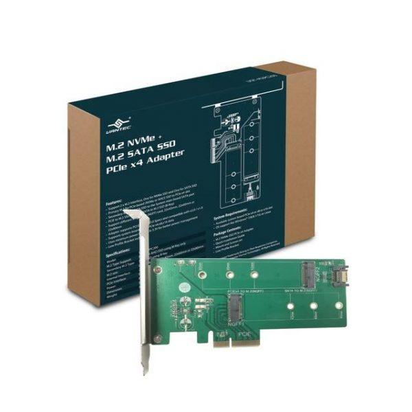 Vantec UGT-M2PC200 M.2 NVMe + M.2 SATA SSD PCIe x4 ADAPTER W/LOW PROFILE