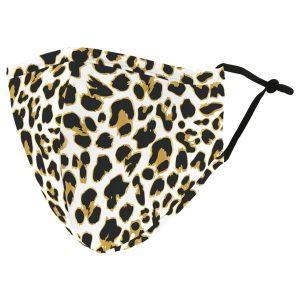 Weddingstar 5512-49 Adult Reusable/Washable Cloth Face Mask with Filter Pocket (Leopard Print)