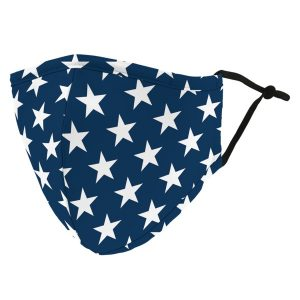 Weddingstar 5524-32 Adult Reusable/Washable Cloth Face Mask with Filter Pocket (Navy Stars)