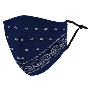 Weddingstar 5600-01 Adult Reusable/Washable Cloth Face Mask with Filter Pocket (Blue Bandanna)