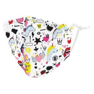 Weddingstar 5637-08 Kid's Reusable/Washable Cloth Face Mask with Filter Pocket (Doodles)