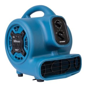 XPOWER P-230AT-BLUE P-230AT 1/4 HP 925 CFM 3-Speed Mini Air Mover/Floor Dryer/Utility Blower Fan with Timer and Power Outlets