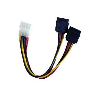 iMicro POWSATA-Y-1 6 inch 4Pin Molex Male to 2x SATA Female Power Splitter Cable